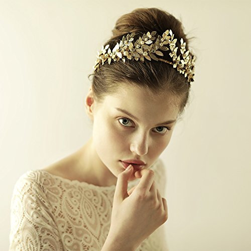 Greek Costumes Accessories (Greek Goddess Gold Leaf Crown, OUMOU Roman Bridal Wedding Headband Medieval Tiara Headpiece (Roman Crown))