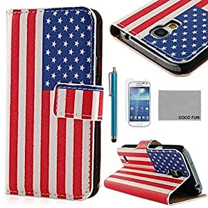 qyf Retro USA Flag Silk Pattern PU Leather Case with Screen Protecter and Stylus for Samsung Galaxy S4 Mini i9190