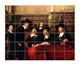Chairman Cloth Makers Guild (Rembrandt) Horizontal Tile Mural Satin Finish 36''Hx42''W 6 Inch Tile