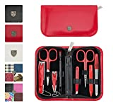 3 Swords Germany – brand quality 8 piece manicure pedicure grooming kit set for professional finger & toe nail care scissors file clipper fashion leather case in gift box, Made by 3 Swords (09218)