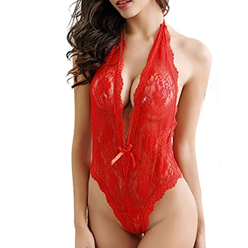 Donne Pizzo Un lingerie Lingerie Beatytop Intimo donna Cinturino Sexy Babydoll Petto Rosso Aperto qx6t1AH