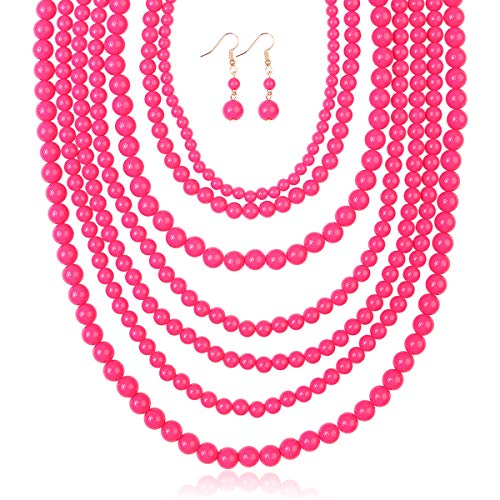 RIAH FASHION Multi Layer Beaded Bubble Statement Necklace - Round Ball Chunky Drape Bib Collar 7 Strands (Hot Pink)