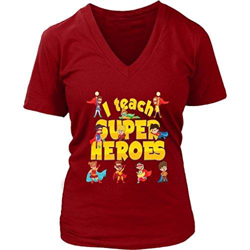 Teelaunch I Teach Superheroes Women V-Neck Shirt Plus Size XL - 4XL VnSupertramp Apparel -