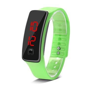Deportes Reloj LED con Correa de Silicona Reloj Digital de Pulsera con Pantalla Electrónica DE 12 Horas para Niños 8 Colores(Verde): Amazon.es: Deportes y ...