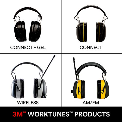 3M WorkTunes Connect + AM/FM Hearing Protector with Bluetooth Technology, Ear coverage for Mowing, Snowblowing, Construction, Work Shops