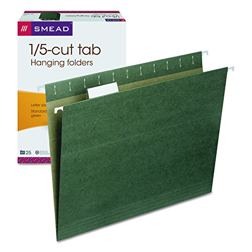 (Smead Hanging File Folder with Tab, 1/5-Cut Adjustable Tab, Letter Size, Standard Green, 25 per Box (64055))