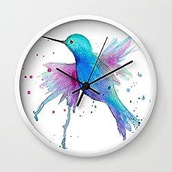 Society6 Hummingbird Watercolor Wall Clock White Frame, Black Hands
