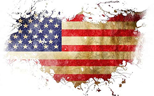 5D Diamond Painting Kits For Adults Full Drill Diamond Colorful - Shabby Vintage American Flag, 9.8 X 11.8 Inch(Frameless)