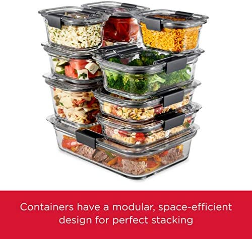 Rubbermaid Brilliance Glass Storage Set of four Food Containers with Lids (8 Pieces Total), BPA Free and Leak Proof, Medium, Clear