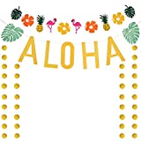LOCOLO Luau Party Supplies - Gold Aloha Banner Decoration Glittering Golden Circle Dots Decor with Flamingo Banner (Gift) Great for Hawaii Summer Beach Pool Tropical Party Decorations