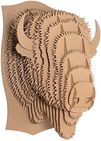 Cardboard Safari Recycled Cardboard Animal Taxidermy Bison Trophy Head