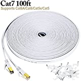 Cat 7 ethernet cable 100 ft, Wireless Outdoor Internet Networking Patch Cord with Clips, Shielded (STP) Slim Long LAN Computer Cable with Gold Plated Snagless RJ45 Connectors in White (30 Meters)