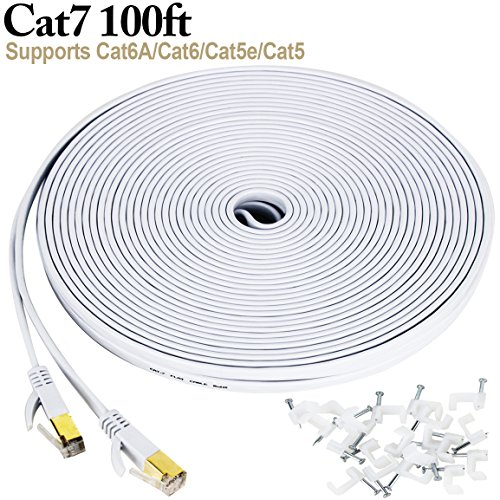 Cat 7 ethernet cable 100 ft, Wireless Outdoor Internet Networking Patch Cord with Clips, Shielded (STP) Slim Long LAN Computer Cable with Gold Plated Snagless RJ45 Connectors in White (30 (Gear Cat)