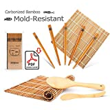 Bamboo-Sushi-Kit-Carbonized-Rolling-Mats-for-MoldResistant-Included-2-Rolling-Mats--5-Pairs-Chopsticks--Paddle