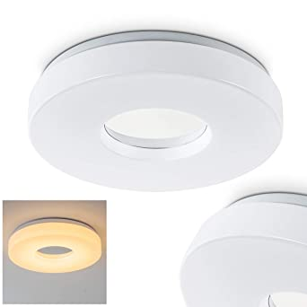led deckenleuchte loris runde deckenlampe aus aluminium in weiss 1 x 18 watt