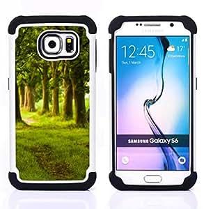 For Samsung Galaxy S6 G9200 - Nature Beautiful Forrest Green 149 Dual Layer caso de Shell HUELGA Impacto pata de cabra con im????genes gr????ficas Steam - Funny Shop -