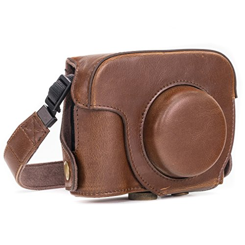 MegaGear MG183 Ever Ready Leather Camera Case compatible with Canon PowerShot G16 with Zoom Lens - Dark Brown