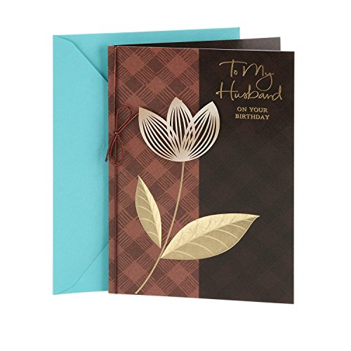 Hallmark Birthday Greeting Card to Husband (Plaid with Flower)