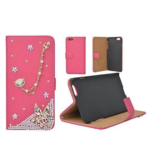 EVTECH (TM) pour iPhone 6 Plus de 5,5 pouces 3D Handmade Bling Crystal étincelle Glitter strass diamant Fleurs rouge PU cuir de type Portefeuille avec Titulaire fermoir magnétique de carte de crédit d
