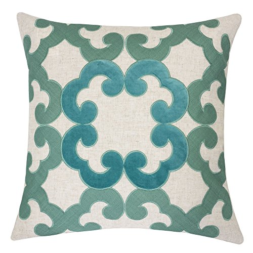 Homey Cozy Applique Linen Throw Pillow Cover, Teal Lullita Decorative Square Couch Cushion Pillow Case 20 x 20 Inch, Cover Only