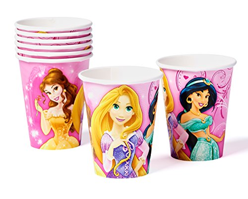 Hot Disney Princesses (Disney Princess Sparkle Paper Cups Hot and Cold Beverage Drink Birthday Party Disposable Tableware (8 Pack), Pink, 9 oz.)
