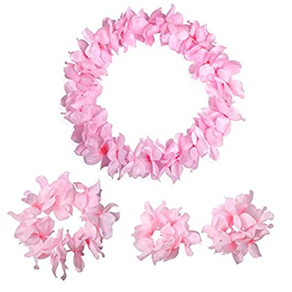 Amazon pink tropical hawaiian luau silk flower leis garland pink tropical hawaiian luau silk flower leis garland necklace bracelets headband set birthday party supplies mightylinksfo