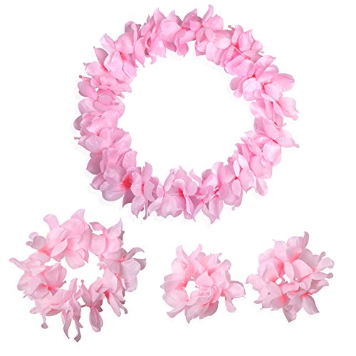 Pink Tropical Hawaiian Luau Silk Flower Leis Garland Necklace Bracelets Headband Set-Birthday Party Supplies Decorations (Silk Floral Lei)