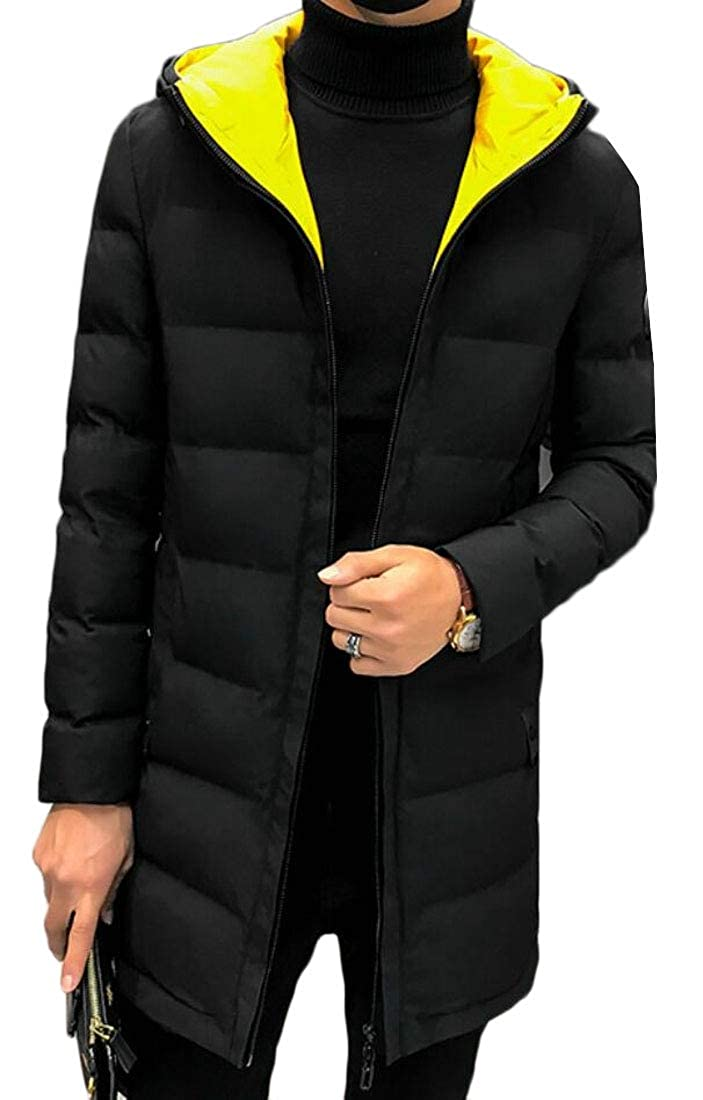 Jmwss QD Mens Thick Hooded Color Contrast Winter Quilted Mid Long Down Jacket Coat