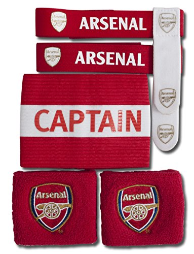 Arsenal Fc Wristbands, Sock Ties & Captain's Armband Gift Set