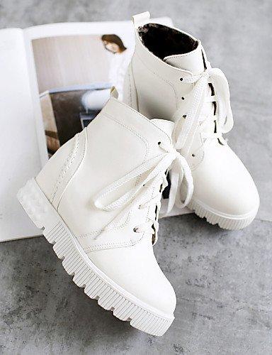 White Eu35 Casual Cn43 Semicuero Plataforma us5 Zapatos Blanco Moto Negro Mujer Redonda 5 White De Cn34 Punta Uk8 Vestido 5 us10 Eu42 Botas Xzz Uk3 HRzBww