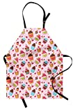 Ambesonne Pink Apron, Kitchen Cupcakes Muffins Strawberries and Cherries Food Eating Sweets Print, Unisex Kitchen Bib Apron with Adjustable Neck for Cooking Baking Gardening, Pale Pink and Brown