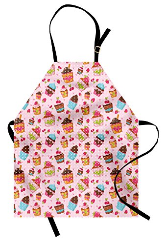 Pink Strawberry Cupcake - Ambesonne Pink Apron, Kitchen Cupcakes Muffins Strawberries and Cherries Food Eating Sweets Print, Unisex Kitchen Bib Apron with Adjustable Neck for Cooking Baking Gardening, Pink Brown