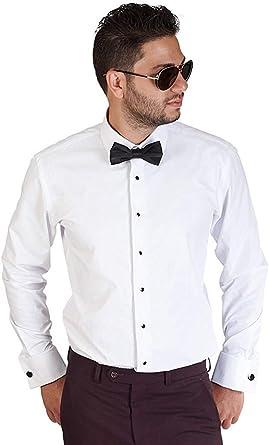 para Hombre Slim Fit Blanco Esmoquin Camisa de puño francés Antiarrugas por Azar - Blanco -: Amazon.es: Ropa y accesorios
