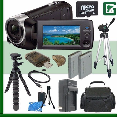 Sony HDR-PJ670 Handycam Camcorder with Built-In Projector (Black) + 64GB + Green's Camera Bundle 3