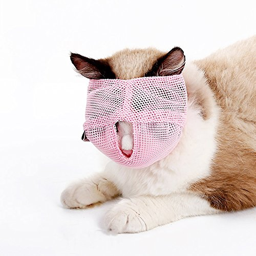 Cat Muzzles - Breathable Mesh Muzzles Prevent Cats from Biting and Chewing - Anti Bite Anti Meow (PINK-L)