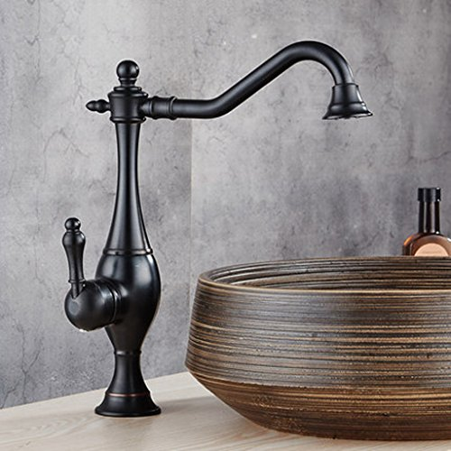 Copper Antique European Faucet Above Counter Basin Art Basin Heighten Basin Washbasin Faucet Hot Water Black Black Copper Faucet,B Above Counter Washbasin