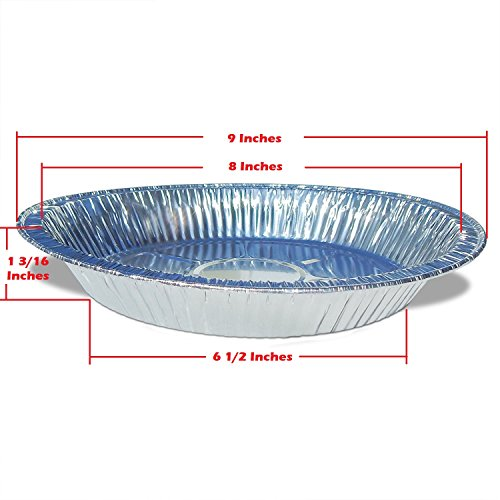 Premium 9'' Aluminum Foil Pie Pans. Disposable Tin Plates for Pies Tart Quiche. (Pack of 50) by Gypsy's Cart (Image #2)