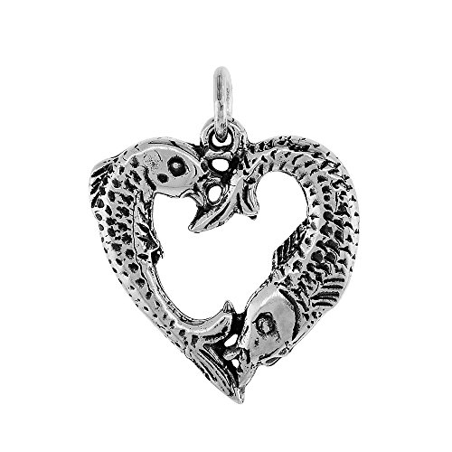 - Sterling Silver Heart-Shaped Fish Pisces Sign Pendant, 1 inch tall