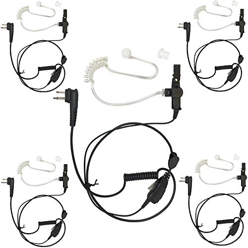 ProMaxPower Radio 1-Wire Surveillance Acoustic Clear Coil Tube Earpiece for Motorola CP150 CP200 CLS1110 RDU2020 RDV5100 DTR650 (5-Pack)
