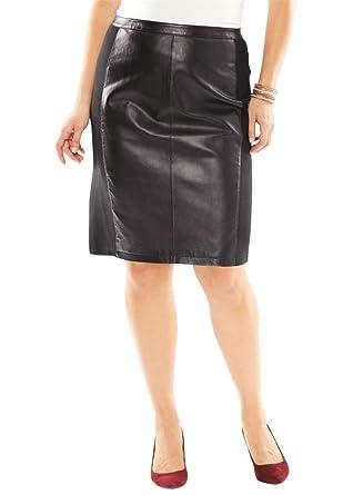 266adc2c0df4 Amazon.com  Jessica London Women s Plus Size Leather And Ponte Knit ...