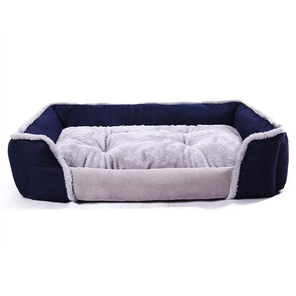 bluee XL(906517CM )Dog Bed Pet Cat Bed Soft PP CottonFilled Puppy Bed for Small Medium Pet with Removable & Washable Cover Cozy Dog Bed for Small Puppy (color   bluee, Size   XL(90  65  17CM))