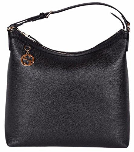Gucci Women's Leather GG Charm Purse Hobo Handbag (Black/449771)