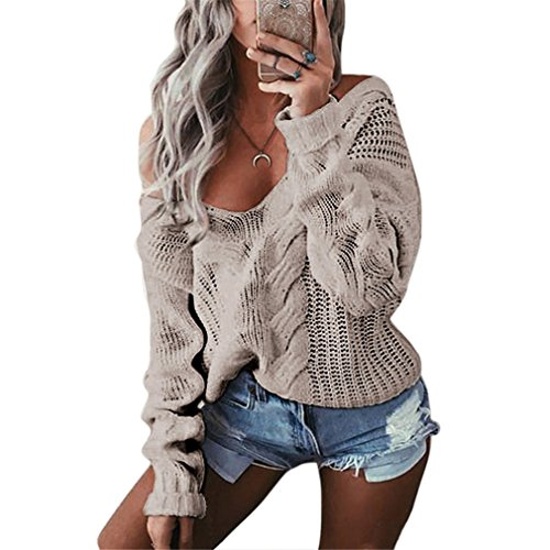 Winter Deep V-Neck Twist Knitted Women Long Sleeve Off Shoulder Sweater – DiZiSports Store