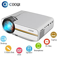 COOQI Projector, Mini LED Portable Pocket Projector Support 1080P with Audio, AV, HDMI, SD Card Slot, USB, VGA for Home Theater Video Projector White