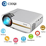 1080 Projector Screen - COOQI Projector, Mini LED Portable Pocket Projector Support 1080P with Audio, AV, HDMI, SD Card Slot, USB, VGA for Home Theater Video Projector White