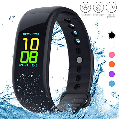 Yeartown Fitness Tracker, Activity Tracker OLED Color Screen Watch Smart Wristband with Heart Rate Test, IP67 Waterproof Sports Bracelet with Steps, Mileage Trails, Calorie/Sleep Monitoring etc