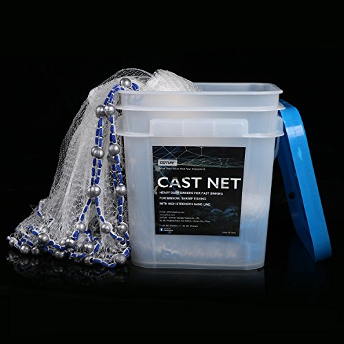 Goture Real Lead American Saltwater Fishing Net Heavy Duty Cast Net with Bucket for Bait Trap Fish 7ft/8ft/10ftRadius - 3/8inch Mesh Size (8 Feet 3/8 Inch/13Lb)