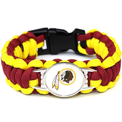(JJCat Men's One Size Knitted Color Patchwork Washington Redskins Watch Band Survival Umbrella Rope)