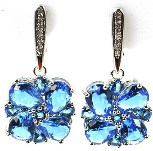 Sterling Silver Blue Tanzanite Flower Earrings Hand Made Lever Back Earring
