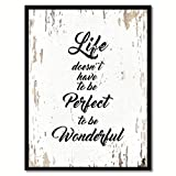 SpotColorArt Life Doesn't Have to Be Perfect to Be Wonderful Framed Canvas Art, 7'' x 9'', White